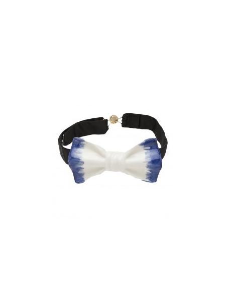 Бабочка белая глянцевая с синими боками Cor Sine Labe Doli